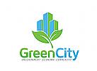 Immobilien Logo, Blatt Logo, grün logo, Ökologie Logo
