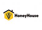 Honig Logo, Bienen Loho