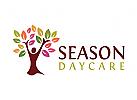 Bäume Logo, Pflege Logo, Kindertagesstätte Logo