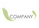 Wellen, Linien in grün Logo
