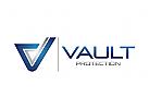 Buchstaben V Logo, Versicherung Logo