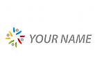 Vier Menschen, Personen in Farben Logo