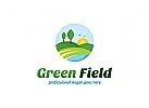 Öko, Bauernhof, Feld, Farm, Anbau, Umwelt, Gras, Sonne, Ernte Logo