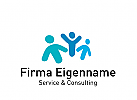 Logo drei Menschen, Consulting, Coaching, Service, Gruppe