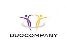 Logo, Menschen, Team, Duo, Gruppe, Symetrie, Einheit, Synergie, Coaching