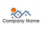 Sonne und Drei Häuser, Dächer und Sonne Logo