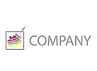 Malerrolle und Haus, Maler Logo