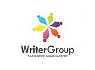 Stift Logo, Gruppe Logo, Menschen Logo, Kindern Logo