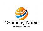Logo rund mit Linien , Touristik, Sonne, Energie