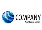 Logo kreisrund mit Linien, Wasser, Waschsalon, Eis-Kugel,