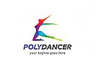 Ö Polygon, Tänzerin, Frau, Unterhaltung, Workout, Übung, bunt Logo