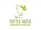 Profil von einem Gesicht umrahmt von Algen Blättern.Kosmetik/Wellness/Urlaub.