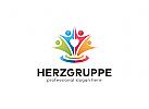 Ö Herzgruppe, Gruppen Logo, Menschen Logo, Kinder Logo, Soziale Logo