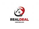 Ö Haus, Heim, Immobilien, Makler, Dach, Dekor, Wohnung House, Abkommen, Händedruck, rot Logo