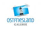 Logo mit Leuchtturm für Reisebüro, Tourismusverband, Fotograf, Galerie