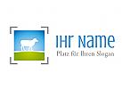 Logo mit Schaf auf einer Wiese