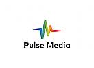 Ö Impuls, Buchstabe M, Media, marketing, Ton, Hörgerät, Audio, Musik, wave, Wi-Fi, bunt Logo