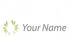 Öko, Zeichen, Sign, Kreis aus Linien, Blätter, Logo