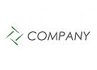 Zeichen, Skizze, Linien in grün, Rechteck, Logo