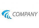 Pfeil, Spirale in blau Logo