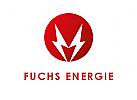 Zeichen, Signet, Logo, Fuchs, Elektriker, Energie