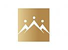 Zeichen, Signet, Logo, Abstrakt, Menschen, Berg, Gold