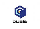 Zeichen, Signet, Logo, Abstrakt, Würfe, Cube, Q