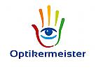 Zeichen, Signet, Logo, Optiker, Augenarzt, Auge, Hand