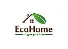 Ökohaus, Dach und Blatt, Haus, Haus, Bauernhof, Freizeit, Natur Logo
