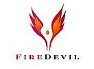 Zeichen, Signet, Logo, Feuer, Flamme, Energie, Mensch, Flügel