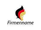 Logo Signet, Deutschland Farben als Flamme