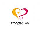 Logo Signet, Zeichen, Herz mit 2, Datingportal, zwei verliebte