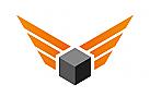 Zeichen, Signet, Logo, Box, Würfel, Flügel, Transport, Logistik