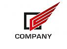 Zeichen, Signet, Logo, Quadrat, Flügel, Logistik