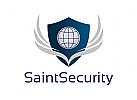 Zeichen, Signet, Logo, Security, Sicherheit, Wachdienst, Objektschutz, Wappen, Flügel, Globus