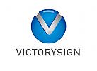 Zeichen, Signet, Logo, Kugel, Buchstabe, Letter, V, Victory