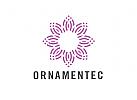 Zeichen, Signet, Logo, Ornament, Blume, Konstruktion, Kreis