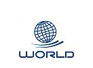 Logo Signet, Zeichen, Welt, sich drehend, Umwelt, Natur, Welt in Bewegung