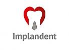 Zähne, Zahn, Zahnarztpraxis, Logo, Herz, Implantat