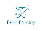 Zähne, Zahn, Zahnarztpraxis, Logo, Sterne, Schweif