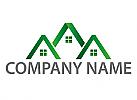 Ökohäuser, Zeichen, Zeichnung, Häuser, Dächer, Immobilien, Logo