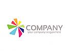 Gruppe Logo, Blume Logo, Farbe Logo, Drucken Logo