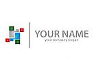 Viele Rechtecke, Quader, Pixel Logo