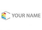 Sechseck mit Linien Logo