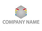 Öko, Zeichen, Skizze, Würfel, Sechseck, Cube, farbig, Logo