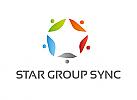 Zeichen, Signet, Logo, Stern,Gruppe, Menschen, Team, Synergie
