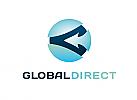Zeichen, Signet, Logo, Globus, Pfeil, Abstrakt, Kreis, Rund, Logistik