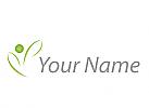 Öko, Zeichen, Skizze, Person, Pflanze, Blätter, Logo