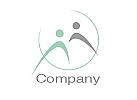 Zwei Menschen, Zeichen, Signet, Skizze, Logo, Duo, Team, Paar, Kreis