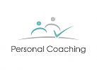 Zwei Menschen, Zeichen, Signet, Logo, Coaching, Bildung, Consulting, Check Mark